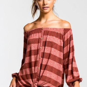 Striped Off Shoulder Button Down Top - Rust
