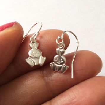 Rabbit Earrings, Bunny Rabbit Earrings,Sterling Silver Earrings,, Birthday Gift, Valentines Gift