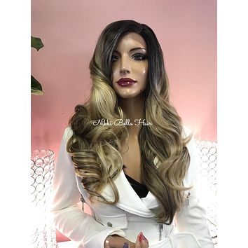 Blonde Balayage Ombre' Human Hair Blend Side Parting Swiss Lace Front Wig - Carrington 121716