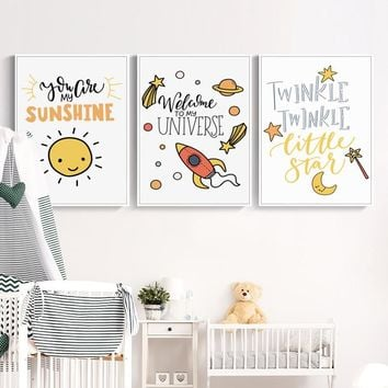 Simple Cute Kids Cartoon Phrase Canvas Painting Posters And Print Pictures Wall Art Children's Room Baby Bedroom Home Decoration