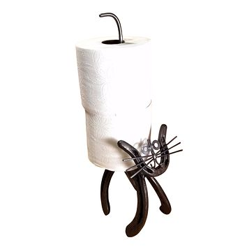 Horseshoe Kitty Toilet Paper Holder Stand Cast Iron Natural Finish