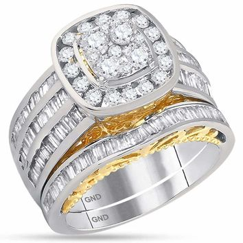 14kt Two-tone White Yellow Gold Women's Round Diamond Cluster Bridal Wedding Engagement Ring Band Set 1-3/4 Cttw - FREE Shipping (US/CAN)