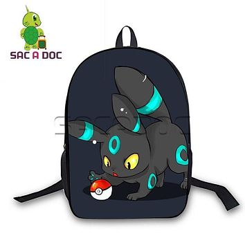 Student Backpack Children 16 Inch Pokemon Backpack Boys Girls School Bags Chibi Umbreon Eevee Backpack for Teenagers Students Daily Bags Gift Backpack AT_49_3