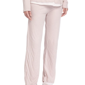 Double-Layer Organic-Knit Lounge Pants, Tea Rose, Size: