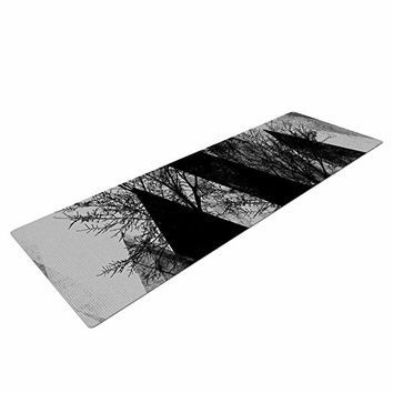 "KESS InHouse Pia Schneider ""TREES V2"" Yoga Exercise Mat, 72"" x 24"", Black/White/Grey"