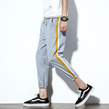 Size M-5XL Summer Men Thin Fashion Casual Pant Stripe Splice Male Fashion Harem Pant Jogger Sweatpant Ankle Length Trousers