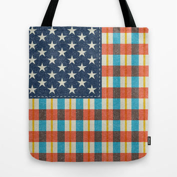 Plaid Flag. Tote Bag by Nick Nelson
