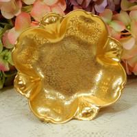 Beautiful Pickard Porcelain Bowl Dish ~ Floral Scroll ~ Gold Encrusted