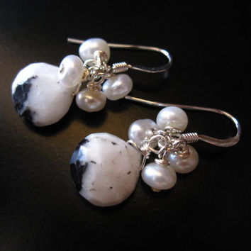 Black and White Earrings, Mexican Zebra Jasper Faceted Briolettes, White Freshwater Pearls and Sterling Silver, Black White Jewelry