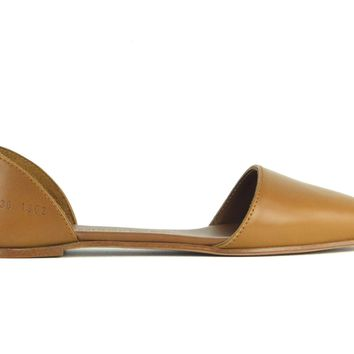 Woman by Common Projects Brown Leather Pointed Toe Flat Sandals