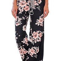 Aifer Women Casual Comfy Chic Floral Drawstring Long Wide Leg Pants