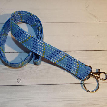 Mermaid Lanyard  ID Badge Holder - Lobster clasp and key ring - mermaid dots lanyard