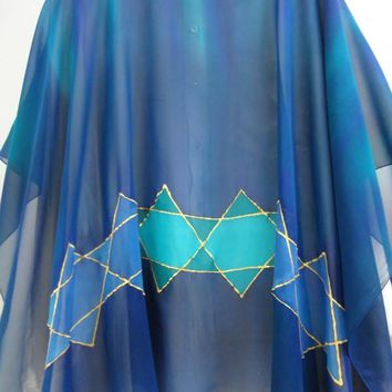 Specacular Fashion Silk Poncho Women'S Top - Star Of David Blues
