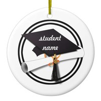 Graduation Cap with Black And White Circle Ceramic Ornament