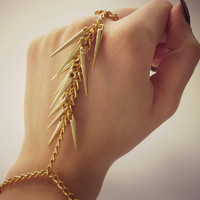 Gold slave bracelet - FREE SHIPPING, hand harness, ring and bracelet around wrist