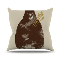 "Tobe Fonseca ""In Love"" Brown Bear Outdoor Throw Pillow"