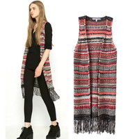 Stylish Stripes Tassels Women's Fashion Sweater [5013174852]