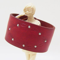 Red Leather Cuff - Tooled Belt Bracelet with Silver Accents - Size Medium