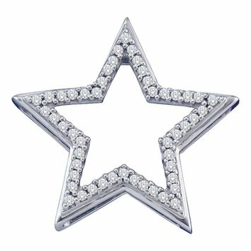 10kt White Gold Women's Round Diamond Star Frame Outline Pendant 1-6 Cttw - FREE Shipping (US/CAN)