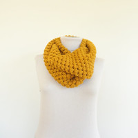 Bubble Infinity Scarf Loop Circle Wool Scarf Thick Knit Scarf Mustard Womens Infinity Scarf Mens Scarf