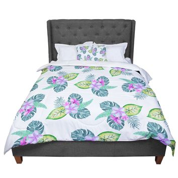 "Sylvia Cook ""Tropical Flowers"" Green Pink Floral Nature Watercolor Digital Comforter"