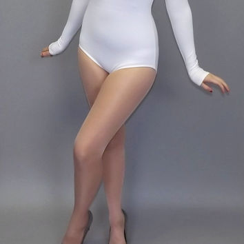 Vintage Capezio 80s 90s White Bodysuit Ballet Leotard Blouse Long Sleeve Unitard Hipster Retro Size Medium Large Aerobics Dance Ballerina