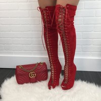 Red Peep Toe Thigh High Boots