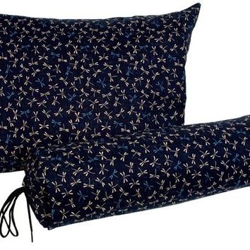 J-Life Tombo Navy Buckwheat Hull Pillow