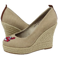 Cuce Shoes Cleveland Indians Ladies The Groupie Espadrille Wedge Sandals - Tan