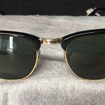 Ray-Ban Clubmaster Sunglasses RB3016 W0365 G-15 Lens 52mm Black / Gold Frame