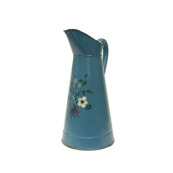 French Blue Enamel Watering Can With Hand Painted Toleware Flower Design. Vintage Hand Painted French Enamelware Pitcher.