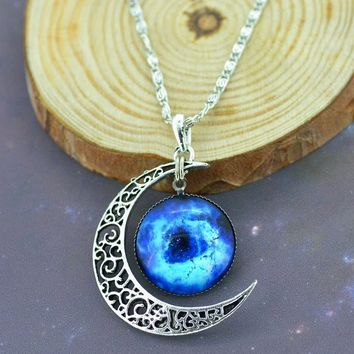Glass Galaxy Pendant Silver Chain Moon
