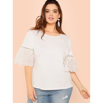 Plus Size White Laser Cut Insert Flounce Sleeve Top