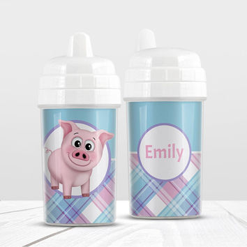 Pig Plaid Personalized Sippy Cup - Pink Blue Purple Plaid Pattern cute Happy Pig - 10oz BPA Free - Made to Order