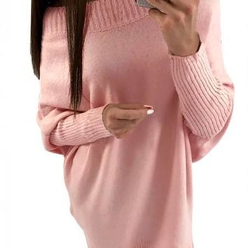 Chic Pink Long Sleeve Baggy Sweater Dress