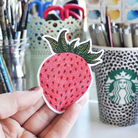 "Vinyl Sticker ""Strawberry"" Pattern Waterproof Sticker Strawberry Decal Fruit Sticker Laptop Sticker Skateboard Sticker"