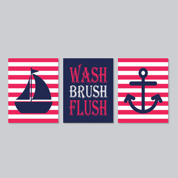 Kids Nautical Bathroom Decor Wash Brush Flush Wall Art Navy Coral Sailboat Anchor Bathroom Rules Set of 3 Prints Girl Boy Bath Art