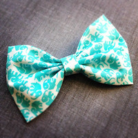 Aqua Blue Turquiose Elephant print handmade fabric bow tie or hair bow