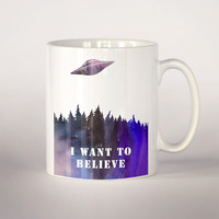 I want to believe coffee mug,  The X files coffee mug 11 oz. Mug art, Ufo mug , Movie mug, ufo illustration, The x-files cup