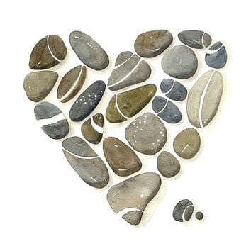 8x10 Heart Print, Limited Edition - Pebbles No.28 - Art watercolor Painting by Lorisworld