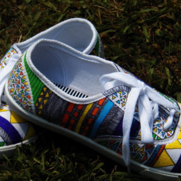 Tribal Shoes - Tribal Print Shoes - Womens Shoes - Handpainted Custom Canvas Shoes