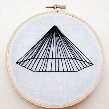 Geometric Pyramid Line Hand Embroidery Hoop Art Hoop Home Decor Geometric Wall Art Geometric Embroidery Shape Embroidery Line Embroidery