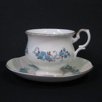 Vintage Crown Staffordshire Teacup & Saucer, Hampton Shape Blue Floral, Bone China Teacup
