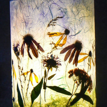 Native Flowers Pendant Lamp, Pressed Plants, Watercolor and Artisan Papers