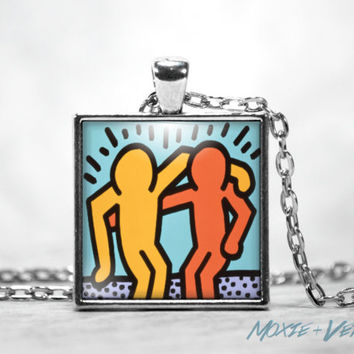 Keith Haring Best Buddies Necklace, Pendant, Graffiti, Peace, Activism, Friendship, 80's, 90's, Pop Art, Glass Photo Jewelry