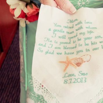 Destination Wedding Invitation Favor Gift Embroidered Wedding Handkerchief Mother In-Law by Canyon Embroidery