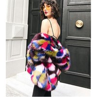 2017 Camouflage Colored Hairy Shaggy Faux Fur Hooded Collar Coat Stylish Women Mix Contrast Color Jacket Warm Outerwear