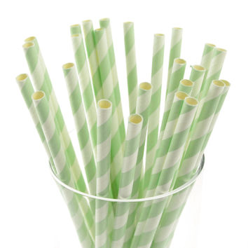 Candy Striped Paper Straws, 7-3/4-inch, 25-pack, Mint Green/White