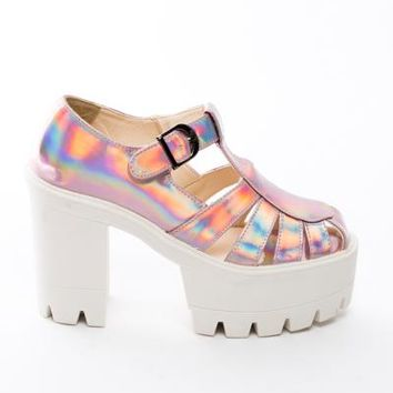 Holographic Chunky Heels: Just For 5Pounds