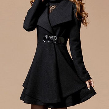 Black Worsted Turn-Down Collar Layered Coat
